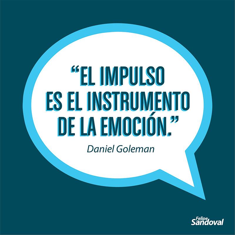 """""""El impulso es el instrumento de la emoción"""" - Daniel Goleman"""