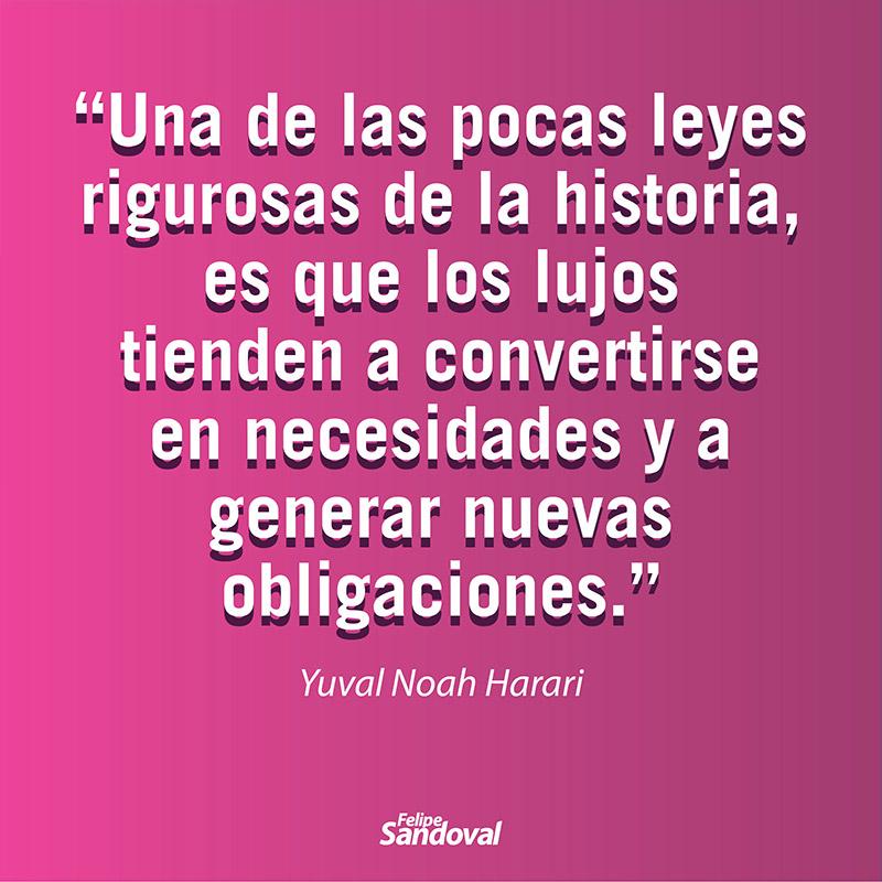 """""""Una de las pocas leyes rigurosas de la historia, es que los lujos tienen a convertirse en necesidad y a generar nuevas obligaciones"""" - Yuval Noah Harari"""